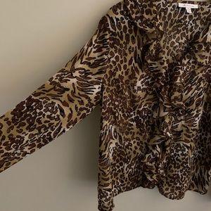 🦉/JM Collection Leopard Button Up Blouse Sz 18